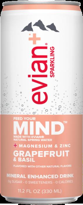 evian+ Grapefruit & Basil Mineral Enhanced Sparkling Drink